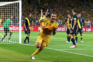 National symbols of Ukraine - Andriy Shevchenko celebrates goal at the Euro2012 match against Sweden