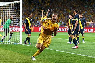 National symbols of Ukraine - Andriy Shevchenko celebrates goal at the Euro2012 match against Sweden