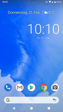 Homebildschirm von Android 9