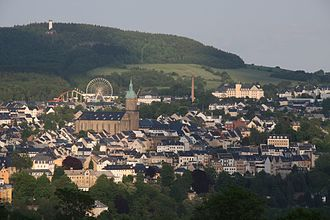 Annaberger Kät - View of the town with ferris wheel and roller coaster (2010)