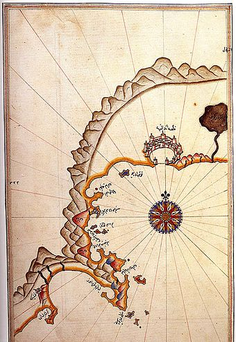 Port of Antalya and the coastal town of Kemer on the Kitab-i Bahriye (Book of Navigation) of Piri Reis from 1525. Antalya and Kemer by Piri Reis.jpg
