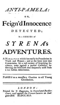 The Anti-Pamela; or Feign'd Innocence Detected cover