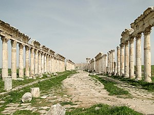 Syria (region) - The ancient city of Apamea, Syria was an important trading center and a prospering city at Hellenistic and Roman times