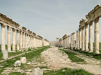 The ancient city of Apamea, an important commercial center and one of Syria's most prosperous cities in classical antiquity Apamea 02.jpg