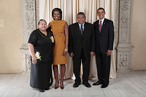 Apisai Ielemia - Apisai Ielemia and Sikinala Ielemia with President Barack Obama and First Lady Michelle Obama (2009)