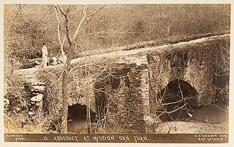 Acequia Park - Image: Aqueduct at Mission San Juan. (12328623385)