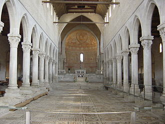 Aquileia - Interior of the Cathedral, with the mosaic pavement.
