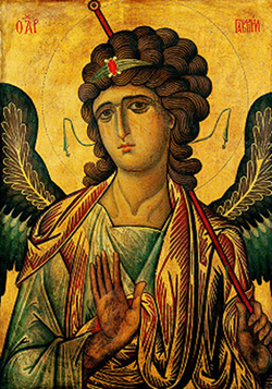 Archangel Gabriel Icon in Blue and Red.png