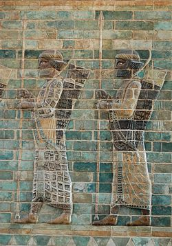 Immortal lancers, detail from the archers' frieze in Darius' palace, Susa. Silicious glazed bricks, c. 510 BC. Louvre