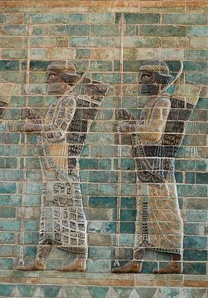 Second Persian invasion of Greece - Persian soldiers, possibly Immortals, a frieze in Darius's palace at Susa. Silicious glazed bricks, c. 510 BC, Louvre.