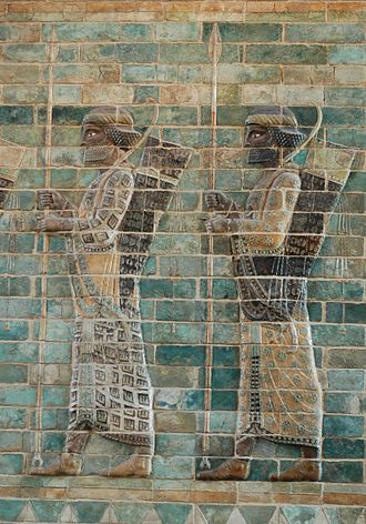 History of archery - Archers with recurve bows and short spears, detail from the archers' frieze in Palace of Darius I in Susa. Siliceous glazed bricks, c. 510 BC.
