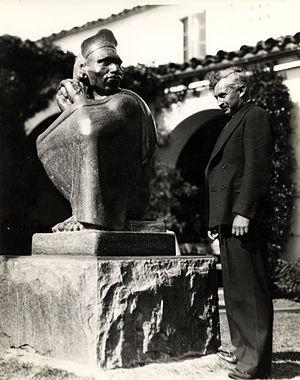 Donal Hord - Donal Hord with Aztec, 1937, campus of San Diego State University, San Diego, CA, created as part of the Federal Art Project. Image from the collection of the Archives of American Art.