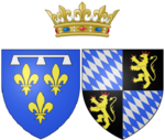 Description de l'image Arms of Élisabeth Charlotte of the Palatinate, Princess Palatine as Duchess of Orléans.png.