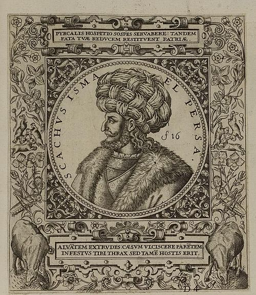 Shah Ismail I as depicted in a 1590s engraving by Theodor de Bry Arolsen Klebeband 01 457 1.jpg