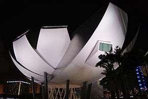 ArtScience Museum - A night view of the museum photographed in February 2011