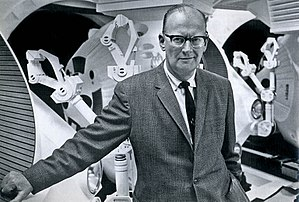 Clarke in February 1965, with props for 2001: A Space Odyssey