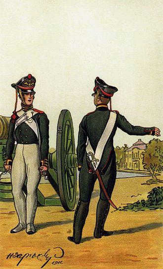 Bombardier (rank) - Russian Bombardier (left) and Feuerwerker (right) (1812).
