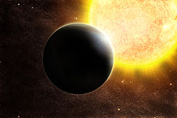 Artist's impression of a transiting Jupiter-mass exoplanet SWEEPS J175853.92-291120.6 b.jpg