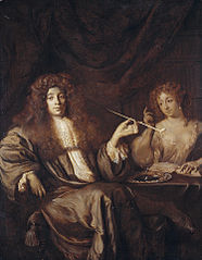 Portrait of Adriaan van Veverland (1651-ca.1712), writer of theological works and satires, with a wanton woman