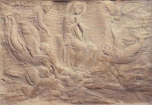 "Tomb of Cardinal Rainaldo Brancacci - Donatello's relief of the ""Assumption of the Virgin""."