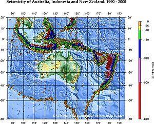 Geology of Australia - Seismicity map of Australia, USGS.