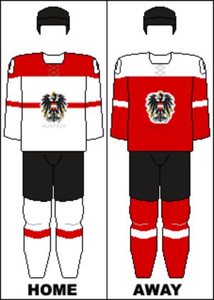 Austria men's national ice hockey team - Image: Austria national hockey team jerseys 2014 Winter Olympics