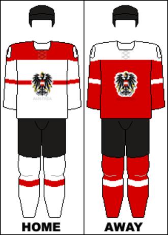 Austria men's national ice hockey team - Image: Austria national hockey team jerseys 2014 Winter Olympics