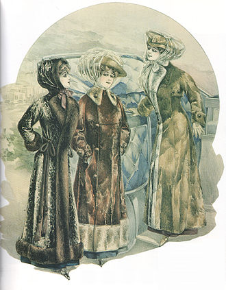 Car coat - 'Automobilists' fashion plate of around 1910, showing early car coats