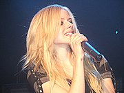 Lavigne performing in Geneva on June 9, 2005.