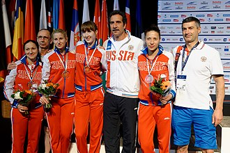 Stefano Cerioni - Cerioni with the Russian team at the 2014 European Fencing Championships
