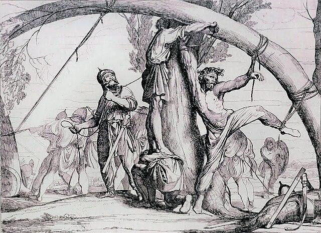 «Казнь князя Игоря». Рисунок Ф. Бруни