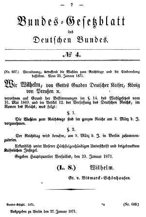 Constitution of the German Confederation 1871 - First page of the Bundesgesetzblatt des Deutschen Bundes, 27 January 1871: Emperor Wilhelm issues new elections to the Reichstag.