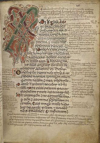 Gospels of Máel Brigte - The illuminated Chi Rho monogram for Matthew 1:18 on folio 10 recto of the Gospels of Máel Brigte
