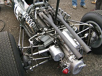 BRM P261 - The high-exhaust version of the BRM P56 V8 engine, installed in the rear of BRM P261
