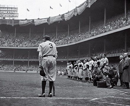 The Pulitzer Prize-winning photo of Ruth by Nat Fein Babe Ruth Bows Out.jpg