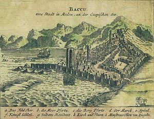 History of Baku - Panorama of Baku by Engelbert Kaempfer. 1683.