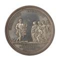Baksida av medalj med bild av man med lyra samt flera kvinnor - Skoklosters slott - 99565.tif