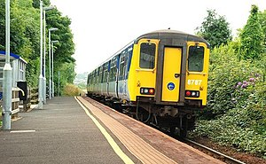 Ballycarry railway station - NIR Class 450 train at Ballycarry station