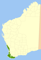 map of Western Australia with green patch along southern west and western south coasts