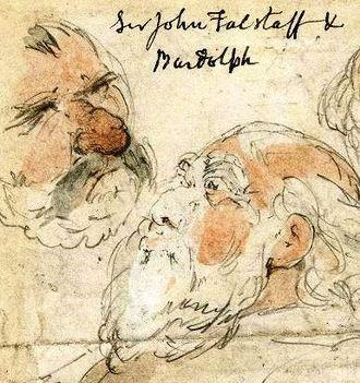Bardolph (Shakespeare character) - Sir John Falstaff and Bardolph by George Cruikshank