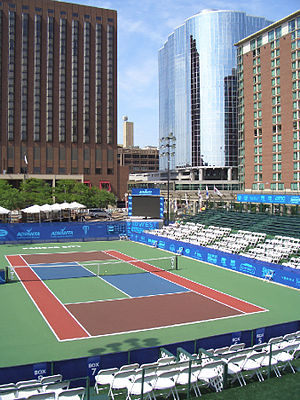 Barney Allis Plaza - A view of the Kansas City Explorers' Tennis Court from the stands in Barney Allis Plaza.