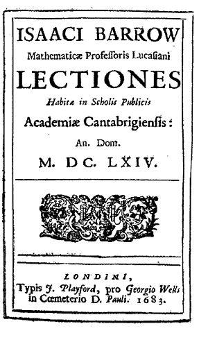 Isaac Barrow - Lectiones habitae in scholiis publicis academiae Cantabrigiensis AD 1664