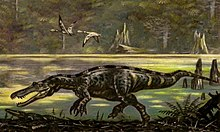 Painting of Baryonyx by a lake.