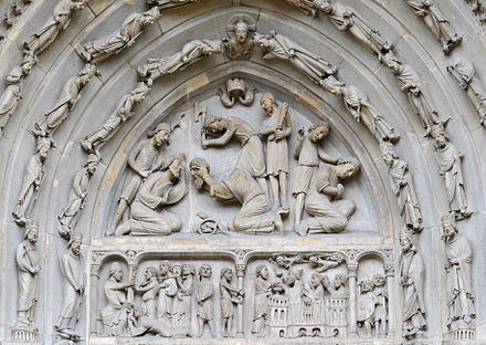 Beheading of Denis and of his companions, tympanum of the north portal of the Basilica of St Denis. Basilique Saint-Denis portail nord tympan.jpg
