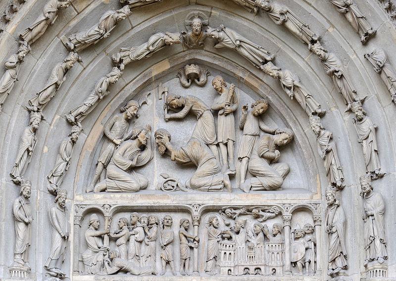 Halshoggingen av Dionysius, Rusticus og Eleuterius av Paris, fra tympanet (gavl over dør) på nordportalen til Basilique Saint-Denis