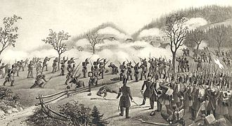 Military history of Switzerland - A battalion of soldiers advance during the Battle of Meierskappel. The battle was fought during the Sonderbund War, a civil war in 1847.