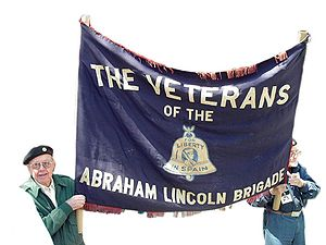 Foreign involvement in the Spanish Civil War - American veterans displaying the brigade's banner in 2002