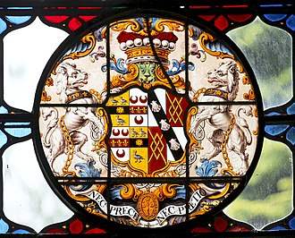 William Bateman, 1st Viscount Bateman - Heraldic achievement of William Bateman, 1st Viscount Bateman, Bateman impaling Spencer. The insignia of the Order of the Bath is pendant below. Stained glass, Shobdon Church