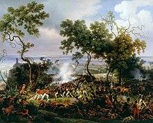 Combat à la baïonnette entre soldats français de Napoléon et fantassins britanniques en Espagne, au milieu d'un paysage exotique.