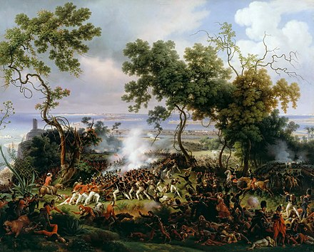 The Battle of Chiclana, 5th March 1811 (1824) captures the fight between British redcoats and the French troops for Barrosa Ridge. Battle of Chiclana.jpg